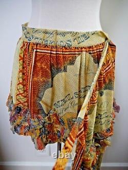 NEW JEAN PAUL GAULTIER SOLEIL multi-color print mesh ruffle bottom wrap skirt L