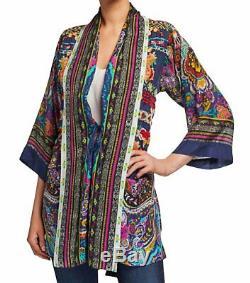 NEW Johnny Was Hanna Floral Embroidered Silk Kimono Jacket Boho XL