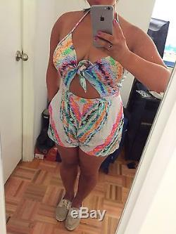 NEW Mara Hoffman Rainbow Front Tie Romper SMALL Sold Out