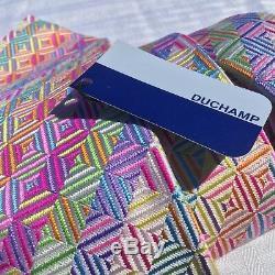 NEW Mens Duchamp London Tie 100% Silk Multi-color Blue Label White Geometric