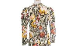 NEW Ulla Johnson Ziggy Disco Print Tie Neck Dress Women's Party Velvet Midi S