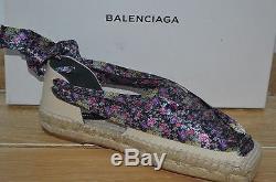 NIB BALENCIAGA Womens GARDEN Botanical Print Tie Up Espadrilles Size 8 EUR 38