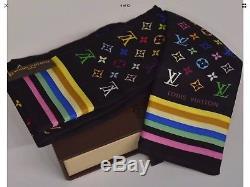 NIB Louis Vuitton Black Multicolor Monogram Silk Slim Scarf Bandeau Headband Tie