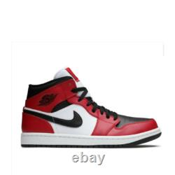 NIKE JORDAN 1 MID CHICAGO BLACK TOE BLACK GYM RED 554725 069 Size 4Y-13