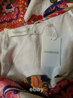 NTW ZIMMERMANN The Lovestruck Tie Back Midi Paisley Floral Linen Size 8 $850