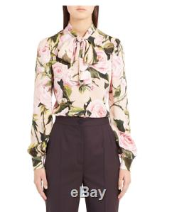 NWT $1195 DOLCE & GABBANA Rose Print Tie Neck Stretch Silk Blouse Size 46