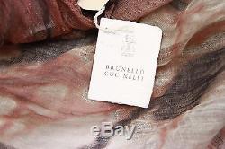 NWT. $1425 Brunello Cucinelli 100% Linen Rich Graphic Print Tie-Dye Wrap Scarf