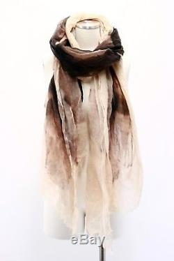 NWT $1745 Brunello Cucinelli 100% Cashmere Lightweight Floral Tie-Dye Scarf A181