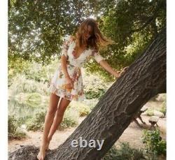 NWT $198 Reformation Monica Floral Bouquet Mini Wrap Dress Size XS