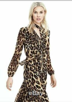 NWT 2017 NWT Banana Republic S MAXI Leopard Dress Pussy bow neck tie 6 or 8 $128