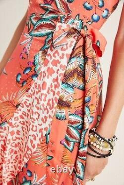 NWT $220 ANTHROPOLOGIE Sz XL FARM RIO MUSETTE MAXI DRESS WRAP DRESS PINK MOTIF