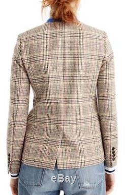 NWT $238 J CREW Womens REGENT PLAID Blazer SIZE 4 #G8712 FA17 with velvet tie