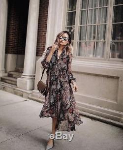 NWT $248 Banana Republic Olivia Palermo Paisley Tie-Neck Silk Dress Maxi Midi S
