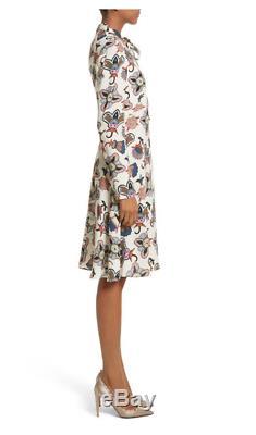 NWT $2690 VALENTINO Pop Floral Print Sable Crepe Tie Neck Dress Size 6