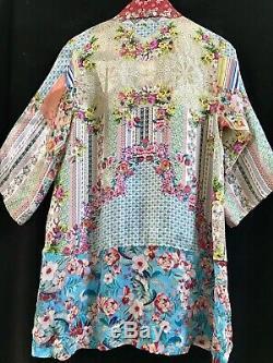NWT $298 Sundance Catalog JOHNNY WAS 100% Silk JADE KIMONO S M L XL Floral Multi