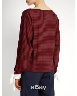 NWT $995 CHLOÉ Tie-cuff Striped Cotton Top SS17 S