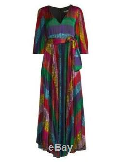 NWT Alice And Olivia Meryl Rainbow Pleated Tie-Waist Maxi Dress Size 8