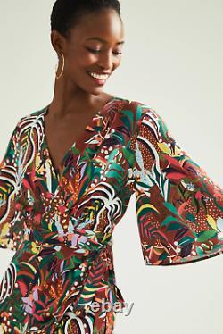 NWT Anthropologie Farm Rio Fiesta Multicolor Wrap Maxi Dress Size M Medium