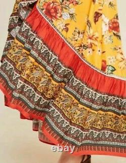 NWT Anthropologie Farm Rio Soigne Maxi Dress L
