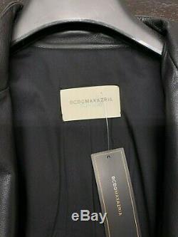NWT BCBG MAXAZRIA RUNWAY Women's Multicolor Leather Trim Long Blazer Size SMALL
