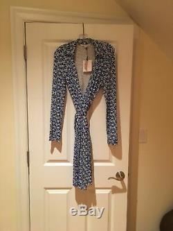 NWT Diane von Furstenberg DVF WRAP Dress New Jeanne Two Blue White Size 10