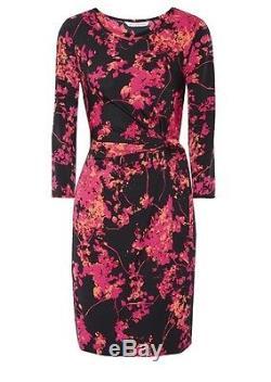 NWT Diane von Furstenberg DVF Zoe Dress Tie Waist Silk Jersey Floral Daze, Sz 8