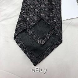 NWT GUCCI GG Tinev Silk Jacquard Tie BLACK DARK GREY Double G Logos $210