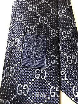 NWT GUCCI MEN'S SILK GG GUCCISSIMA NECK TIE 408865 In Navy & Blue Multicolor