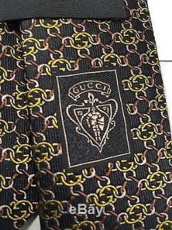 NWT GUCCI MEN'S SILK interlocking GG GUCCISSIMA NECK TIE 351796 Black & Yellow