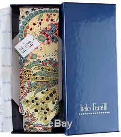 NWT ITALO FERRETTI TIE pure silk paisley blue box extraluxury handmade Italy