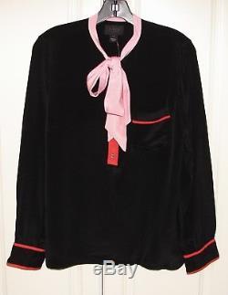 NWT J Crew Collection sz 10 black pink color block silk tie neck top F9512