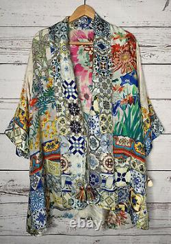 NWT Johnny Was Cassie Reversible Silk Kimono Wrap Top Size Large