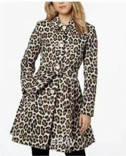 NWT Kate Spade Leopard Print Tie Waist Trench Coat Sz L