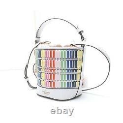 NWT Kate Spade Pippa Woven Rainbow Small Bucket Pink Red WKRU6841 FREE SHP