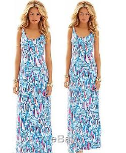NWT Lilly Pulitzer Palm Red Right Return Sailboat Maxi Jersey Tie Back Dress