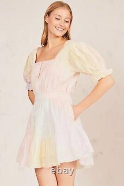 NWT Loveshackfancy Tomasina Mini Dress in Multi Tie Dye cotton sexy Small