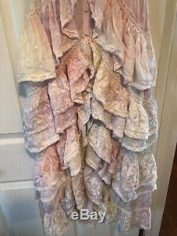 NWT Loveshackfancy Unicorn Silk India Tie Dye Rainbow Ruffled Maxi Dress 00 XS