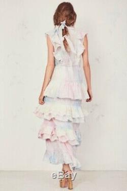 NWT Loveshackfancy Unicorn Silk India Tie Dye Rainbow Ruffled Maxi Dress