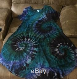 NWT LuLaRoe CARLY XL GREEN BLUE PURPLE PLUM Tie Dye Tye Die CUSTOM UNICORN