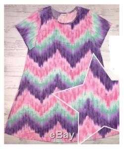 NWT LuLaRoe Jessie Pocket Dress Happy Hearts Club 3XL Pastel Chevron TIE DIE