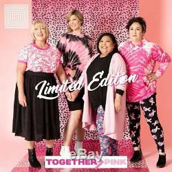 NWT LuLaRoe XL AMBER TIE DYE BLACK PINK RIBBON HOODIE BREAST CANCER AWARENESS