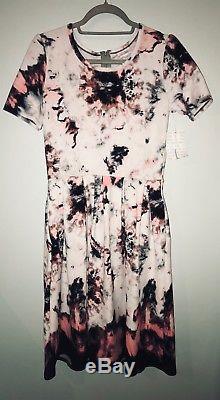 NWT Lularoe Amelia Large Tie Dye Dipped Watercolor Pink White Black Splatter HTF