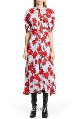 NWT Proenza Schouler Short Sleeve Floral Tie Neck Georgette Midi Dress, Size 10