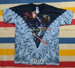 NWT VTG 90s Liquid Blue Star Wars Episode 1 Darth Maul Tie-Dye T-Shirt XXL