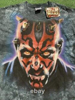NWT Vintage 90s Star Wars Darth Maul Liquid Blue Tie-Dye Shirt Adult Size Large