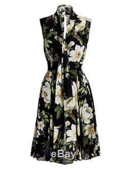 New 2019 Carolina Herrera Rose Cumming Midnight Garden Floral Tie Neck Dress 2