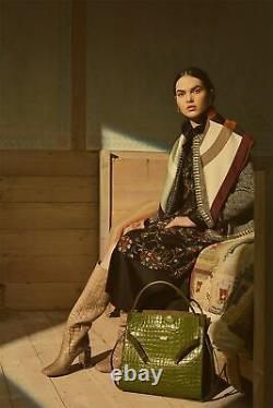 New 2020 NWT Tory Burch Sacred Floral Black Ruffle Silk Wrap Dress IT 40 / US 4