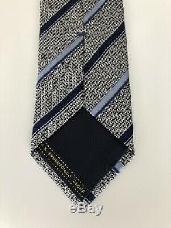 New $205 Ermenegildo Zegna Tie AMAZING DESIGN Navy/Blue Striped Silk Italy RARE