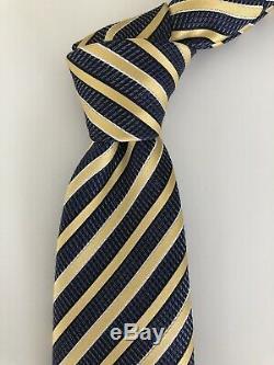 New $205 Ermenegildo Zegna Tie GORGEOUS COLOR Navy/Gold Striped Silk Italy RARE
