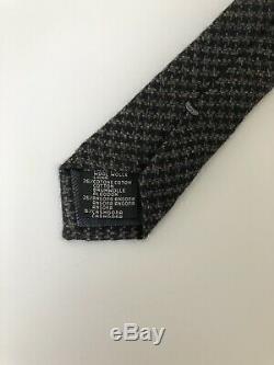 New $205 Ermenegildo Zegna Tie PURE ELEGANCE Black/Grey Wool Italy Staple
